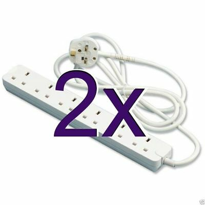 [2 pack] 6 Gang Way Extension Sockets 13A with 5m Cable WHITE [005114]