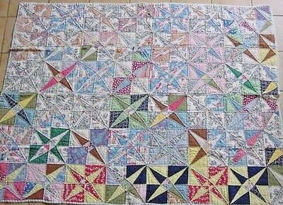 SMALL COLORFUL PINWHEEL QUILT OR LAP ROBE c 1950s