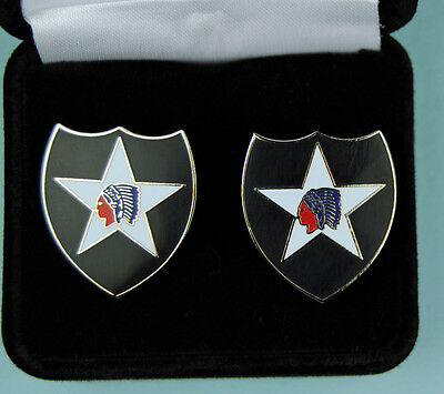 2nd Infantry Division Army Cuff Links in Presentation Gift Box - cufflinks
