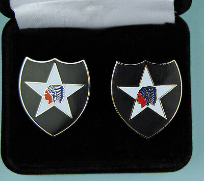 2nd Infantry Division Army Cufflinks in Presentation Gift Box