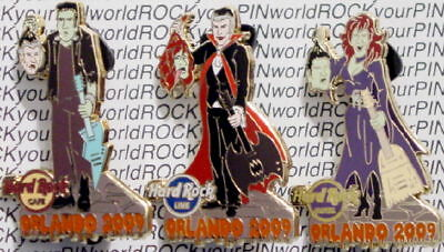 Hard Rock Cafe Live & Hotel ORLANDO 2009 HALLOWEEN 3 PINS Scary Series!