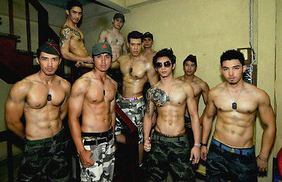 Shirtless Male Beefcake Asian Military Bare Chest Muscle PHOTO 4X6 ...