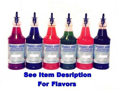 FREEZY CONE 6 Quart Bottles Snow Cone Shaved Ice Syrup With Spouts PICK FLAVORS