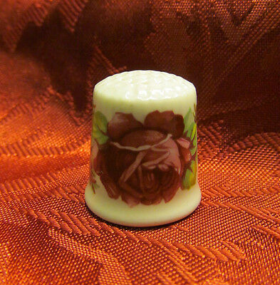 Beautiful Vintage Bareuther Bone China Collectible Thimble Floral / Roses