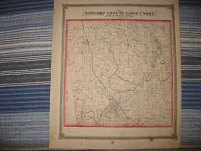 Antique 1874 New Athens Township Lemonton St Clair County Illinois Handclr Map N