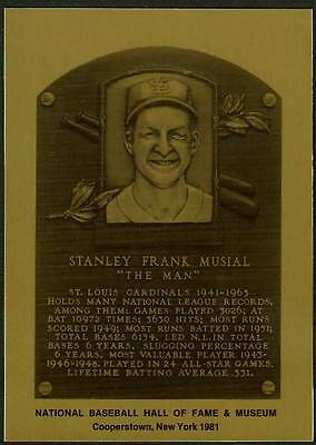 STAN MUSIAL St. Louis Cardinals HALL OF FAME METALLIC CARD ~1 of 1,000 issued~