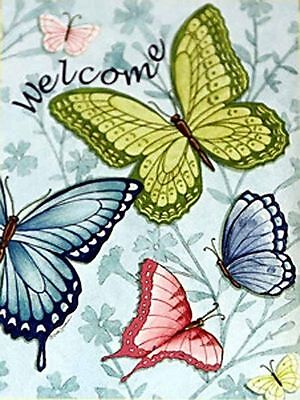 """Large Welcome Butterflies Spring House Flag Decorative Double Sided 28"""" x 39"""""""