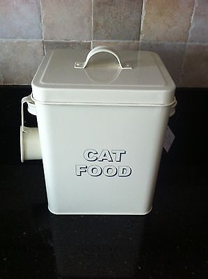 Cat Food Storage Box Tin With Scoop Cream Metal Ideal For Dry Food Biscuits