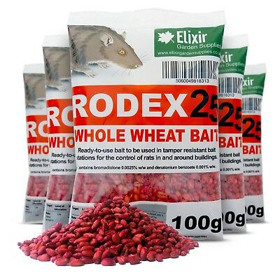 2 X 100G Rodex Whole Wheat Rat Mouse Professional Bait Poison Rodent Killer