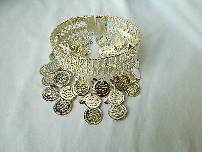 Egyptian Belly Dance Anklet Gypsy Silver Plated Coins and Turquoise Beads
