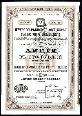 RUSSIA: Petro-Mariewskoe Pour L'Industrie Houillere, 100 rouble share, 1912