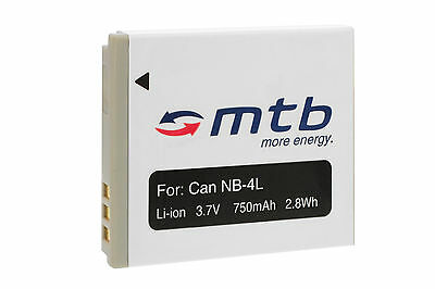 Battery NB-4L for Canon Powershot SD600, SD630, SD750, SD780 IS, SD940 IS