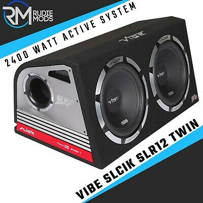 """Vibe Slick Twin Double 12"""" Active Subwoofers Subs and Box 2400w Built in AMP"""