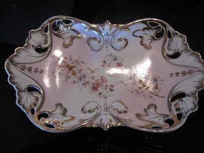 LARGE ANTIQUE GERMAN DISH-1800/1900s-H-Painted Gold detail-Cutout Leaves Flowers