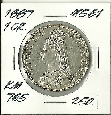 Great Britain 1887 1 CROWN Ruler:Victoria Uncirculated .9250 Silver  KM 765 #