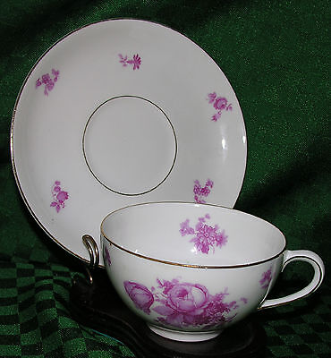 TEA CUP & SAUCER THOMAS CHINA GERMANY PINK ROSES VINTAGE