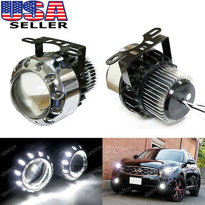 Iron Man Style 5W LED Projector Fog Light Lamps w/ 12-LED Halo Angel Eyes Rings