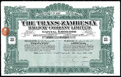 NYASALAND: Trans-Zambesia Railway Co. Ltd., 25 shares of £1, 1920