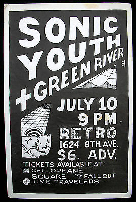 SONIC YOUTH + GREEN RIVER Retro Club SEATTLE 1986 CONCERT POSTER Pearl Jam PUNK
