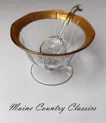 Antique HEISEY ROSE GOLD ENCRUSTED MAYO COMPOTE WITH GILDED LADLE Footed Bowl