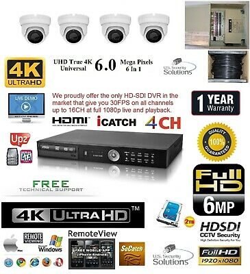4CH Security Network DVR HD-SDI System Package 2 TB HD 4 Indoor Camera