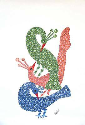 Flirting Peacocks Trad'l GOND PAINTING on Handmade Paper Signed by Novica India