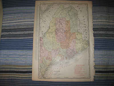 Huge Fine Antique 1911 Maine Named Railroad Maritime Map York Cumberland County