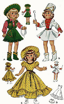 Vintage Doll Clothes PATTERN 1561 for 14 in Toni by Ideal P 90 Miss Curity