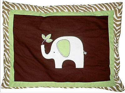 STANDARD -  Tiddliwinks - Madagascar Brown, Green, White QUILTED PILLOW SHAM