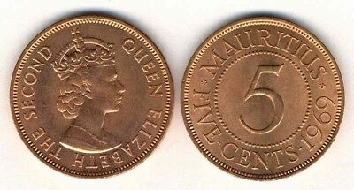 Mauritius 1969 5 Cents Uncirculated (KM34)