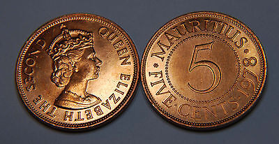 Mauritius 1978 1 & 5 Cents 2 Uncirculated Coin Set