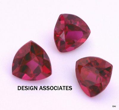 3  Mm Trillion Cut Man Made Ruby  Aaa Grade 3 Pc Set