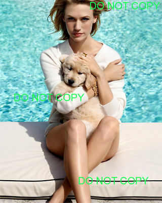 JANUARY JONES - 8x10 Photo - POOLSIDE WITH HER DOG