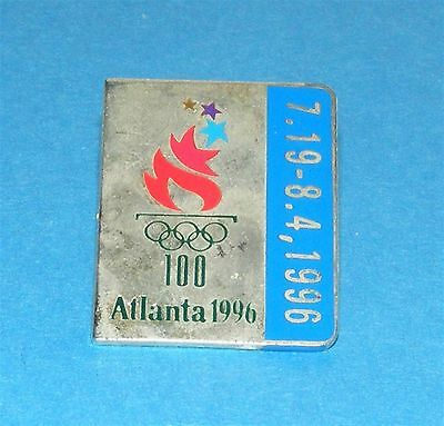 ATLANTA 1996 Olympic Collectible Logo Pin - Silver with Blue Date Border