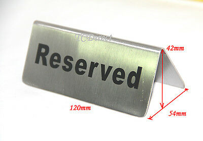 """2x Quality Stainless Steel Table Sign """"RESERVED"""", 120mm"""