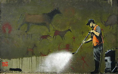"Reproduction Banksy Art Print ."" cave-graffit ""Various Sizes A1 A2 A3 A4 Sizes"