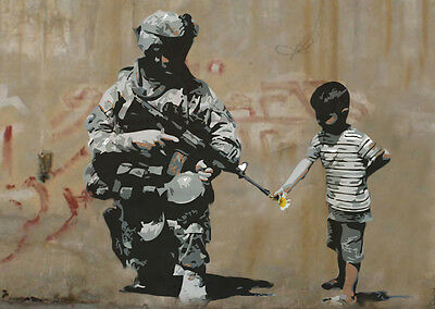 "Reproduction Banksy Art Print .""Flower Soldier1"" Various Sizes A1 A2 A3 A4 Sizes"