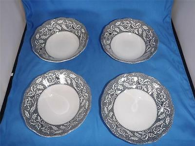 4 J&G Meakin English Ironstone Sterling Coupe Cereal Bowls Renaissance Black