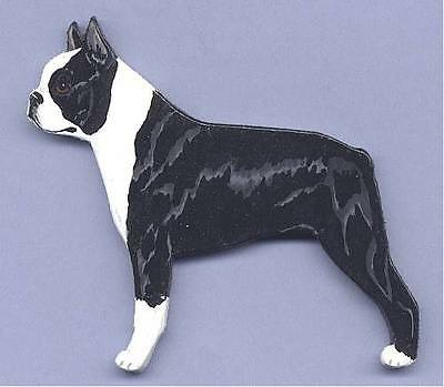 BOSTON TERRIER  Wooden Dog MEMO MAGNET - Hand Crafted !