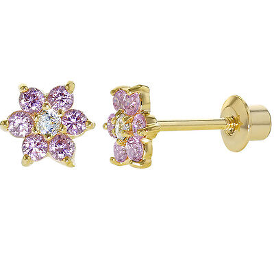 Gold Filled 18k Pink & Clear Crystal Flower Baby Children Screw Back Earrings
