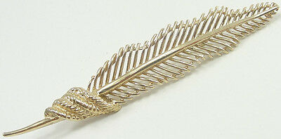 "14K Yellow Gold Feather Pin Brooch Quill Plume Down Plumage 2 5/8"" Estate"