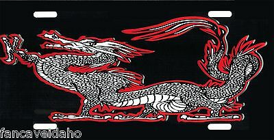 Red Chinese Dragon Aluminum Metal Novelty Car License Plate Auto Tag