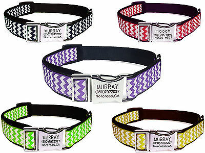 Customized Dog Collar Engraved Personalized Name Buckle Chevron Stripe Waves 8 C