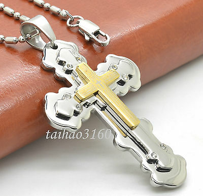 """Unisex Stainless Steel Gold Silver Cross Pendant Necklace 23.6"""" Bead Chain E126"""