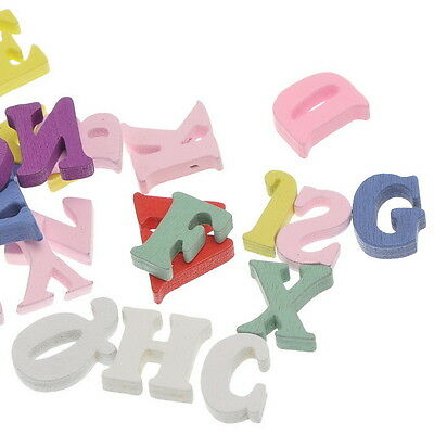 100PCs Wooden Embellishments Letters Shape Mixed Colors 21.4mmx15mm-15mmx6.5mm