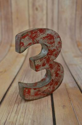 Fantastic Vintage Style Red 3D Metal Shop Sign Number 3 Advertising Font