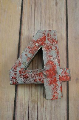 Fantastic Vintage Style Red 3D Metal Shop Sign Number 4 Advertising Font