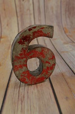 Fantastic Vintage Style Red 3D Metal Shop Sign Number 6 Advertising Font