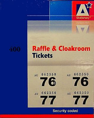 raffle ticket book 400 unique numbers with duplicate stubs cloakroom 5 colours