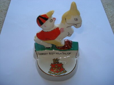 "C1920S ""horsey Keep Your Tail Up""city Of Leicester Carlton Ware Novelty Pin Dish"